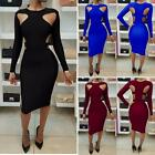 Women Fashion Hollow Long Sleeve Bodycon Cocktail Party Evening Dress Hot Trendy