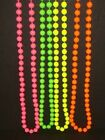 Fancy Dress Neon plastic Beads long Necklace 70's & 80's theme, costume.