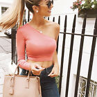 New Sexy Womens/Lady One Of  Shoulder Long Sleeve Crop Blouse T-Shirt Top Tee