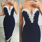 6-16 Women Bodycon Strappy V Neck Floral Lace Evening Cocktail Party Short Dress
