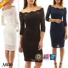 Womens Scalloped Off Shoulder Party Long Sleeve Midi Lace Bodycon Dresses A030