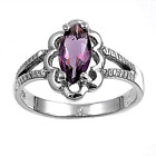VERY PRETTY AMETHYST OVAL RING WITH DETAIL GENUINE STERLING SILVER.925 STAMPED