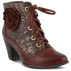 Spring Step L`Artiste Women's Sufi Leather Lace Up Ankle Booties Bordeaux