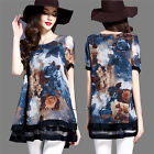 New Plus Size Women Short Sleeve Shirts Floral Chiffon Tops Casual Loose Blouses