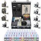 Complete Tattoo Kit 2 4 6 8 Machine Gun Power Supply 40 Ink Needles Set w/Case
