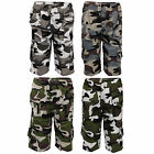 Boys Camouflage Combat Cargo Shorts Kids 3/4 Length Army Military Sports Summer