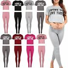 Womens Ladies I Woke Up Like This Legging Cropped Top Loungewear Pj Co-Ord Set