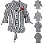 Womens Short Sleeve Ladies Shirt Floral Rose Butterflies Embroidery Stripes Top