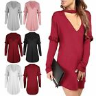 Womens Ladies Curved Hem Ruffle Frill Sleeve Keyhole Cut Choker Neck Mini Dress