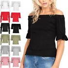 New Ladies Women Bardot Off the Shoulder Short Sleeve Ruffle Frill Tee Shirt Top