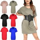 Womens Choker Neck Keyhole Cut Oversize Baggy Batwing Short Sleeve Mini Dresses