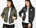 Ladies Womens MA1 Classic Bomber Jacket Vintage Embroidered Badges Biker Coat