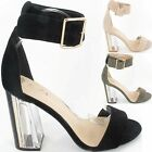 Ladies Womens High Heel Clear Block Sandals Ankle Strappy Party Evening Shoe New
