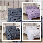 LUXURY 4PC RUFFLES COMPLETE DUVET COVER SET WITH FITTED SHEET & PILLOWCASE NEW