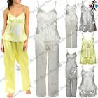 Womens Ladies Sleeveless Satin Pyjamas Pj Set Bottoms Top Nightwear Loungewear