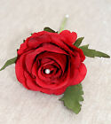 Artificial Luxury RED Silk Rose Pearl Buttonhole Wedding Groom Guest Flower