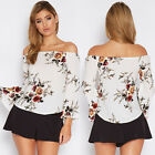 Women's Casual Off Shoulder Shirt Tops OL Office Blouse Summer Loose Floral Tops