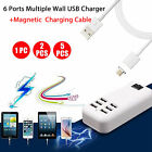 6-Port USB Desktop Multi-Function Wall Charger+Micro USB Magnetic Charging Cable