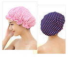 Waterproof Women Polka Dot Printed Double Layer Hair Bath Bathing Shower Cap Hat