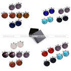 NEW 8pcs Round Stainless Steel Amethyst Mens Shirt Cuff Links Stud Gift Cufflink