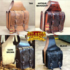 HILASON WESTERN LEATHER COWBOY TRAIL RIDE HORSE SADDLE BAG 12 X 11 X 3.5 INCH