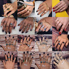 U Vintage Women Rings Set Stack Plain Above Knuckle Midi Finger Tip Ring Jewelry