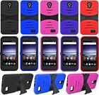 For ZTE Prestige 2 (N9136) Heavy Duty Hard Hybrid Armor Kickstand Case Cover