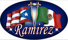 "Puerto Rico Mexican Flags Decal Bumper Sticker Personalize Name -Text Oval 4""x8"""