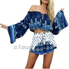 Cotton 2pcs Suit Frilled Off Shoulder Crop Top Shirts Blouse Shorts Hot Pants