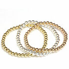 Beaded Stretch Bracelet 14k Solid Gold Yellow, White and Rose