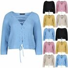 Ladies Womens Plunge V Neck Lace Up Long Sleeve Jumper Chunky Knitted Crop Top