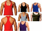 Mens 100% Cotton Gym Muscle Stringer Vest Bodybuilding Y BACK Racerback S-XXL
