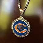 STERLING SILVER PENDANT W/ HAND PAINTED NFL CHICAGO BEARS SETTING JEWELRY GIFT on eBay