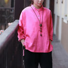 Chinese style Women Cotton Linen Shirt Blouse Loose Fit Casual Long Sleeve Pink