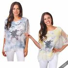 Womens Ladies Boxy Layered Floral Mesh Batwing Oversized Top T Shirt Tee Blouse