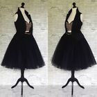 Black fully satin lined multi layer tulle net midi skirt 6 8 10 12 12 16 S M L X