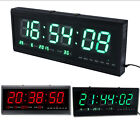 Large Modern LED Digital Square 3D Watch Wall Alarm  Clock 12/24H Timer