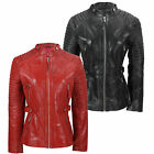 Ladies Womens Soft Real Leather Jacket Long Biker Style Fitted Retro Black Red