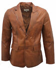 Men's Tan Tailored Double Vented 2 Button Blazer 100% Goat Nappa Leather Jacket
