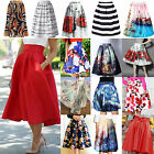 Ch Retro Women High Waist Waistband Skater Flared Pleated Swing Long Skirt Dress