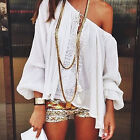 CH Summer Lace Off Shoulder Boho Long Sleeve Tops Casual Loose T-shirt Blouse