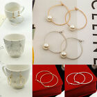 Fashion Woman Gold Plated Big Round Dangle Alloy Hoop Drop Earrings Jewelry Gift