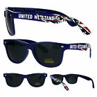 United We Stand Statue of Liberty Patriotic Navy Horn Rim Hipster Sunglasses