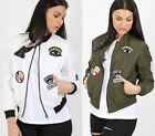 Ladies Womens MA1 Classic Embroidered Badges Bomber Jacket Vintage Biker Coat
