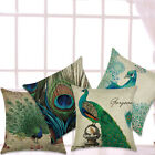 Peacock Patterns Linen Pillow Case Cotton Linen Cushion Cover Square Cover Gift