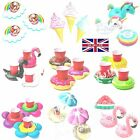 Fruit Donuts Swimming Pool Inflatable Drink Can Beer Holder Summer Toy Boat UK