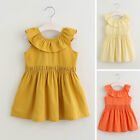Kids Girls Cute Sleeveless Lace-up Dress Tops Clothes birthday Party Dresses New