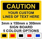 Caution Sign Custom Design Rigid Plastic Board 15x30cm
