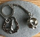 Tibetan Silver Wicca Pagan Keyring Key Ring Witch on Broomstick or Cauldron