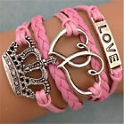 NEW Jewelry fashion Leather Cute Infinity Charm Bracelet Silver lots Style Pick
